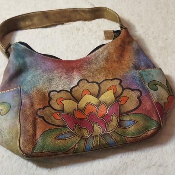Anuschka Handbags - ❤ANUSCHKA HAND PAINTED LOTUS FLOWER SHOULDER BAG d8382f00c4